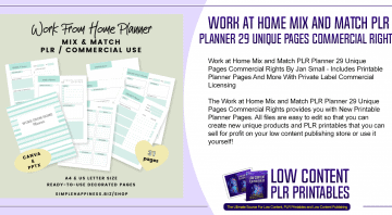 Work at Home Mix and Match PLR Planner 29 Unique Pages Commercial Rights