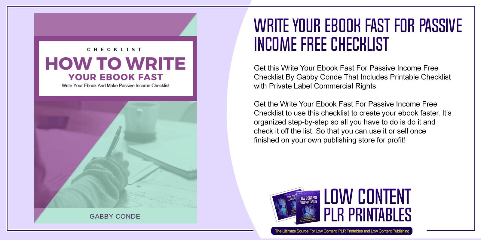 Write Your Ebook Fast For Passive Income Free Checklist