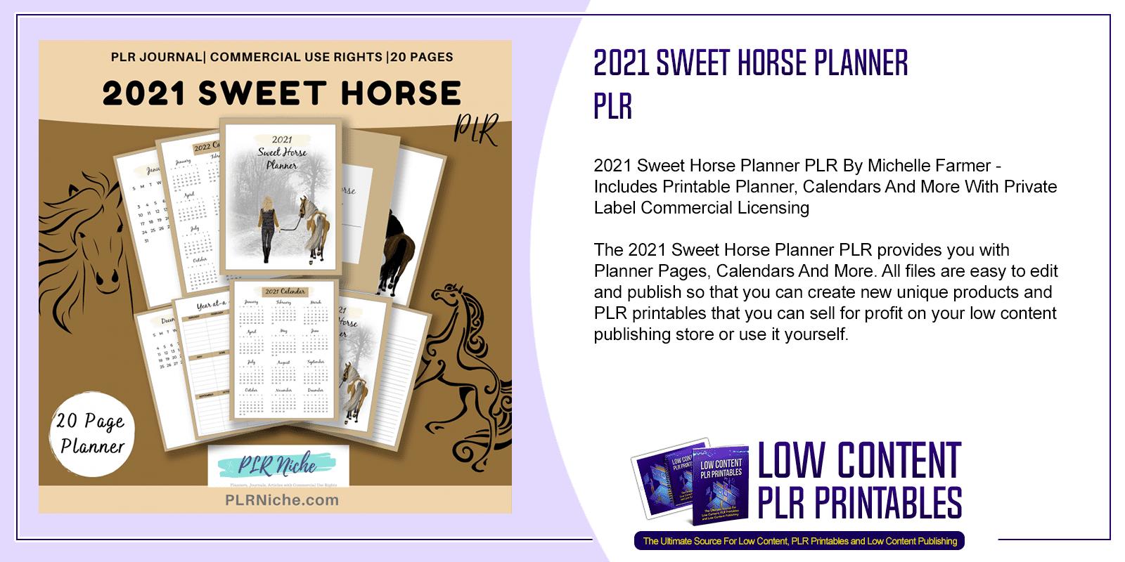2021 Sweet Horse Planner PLR
