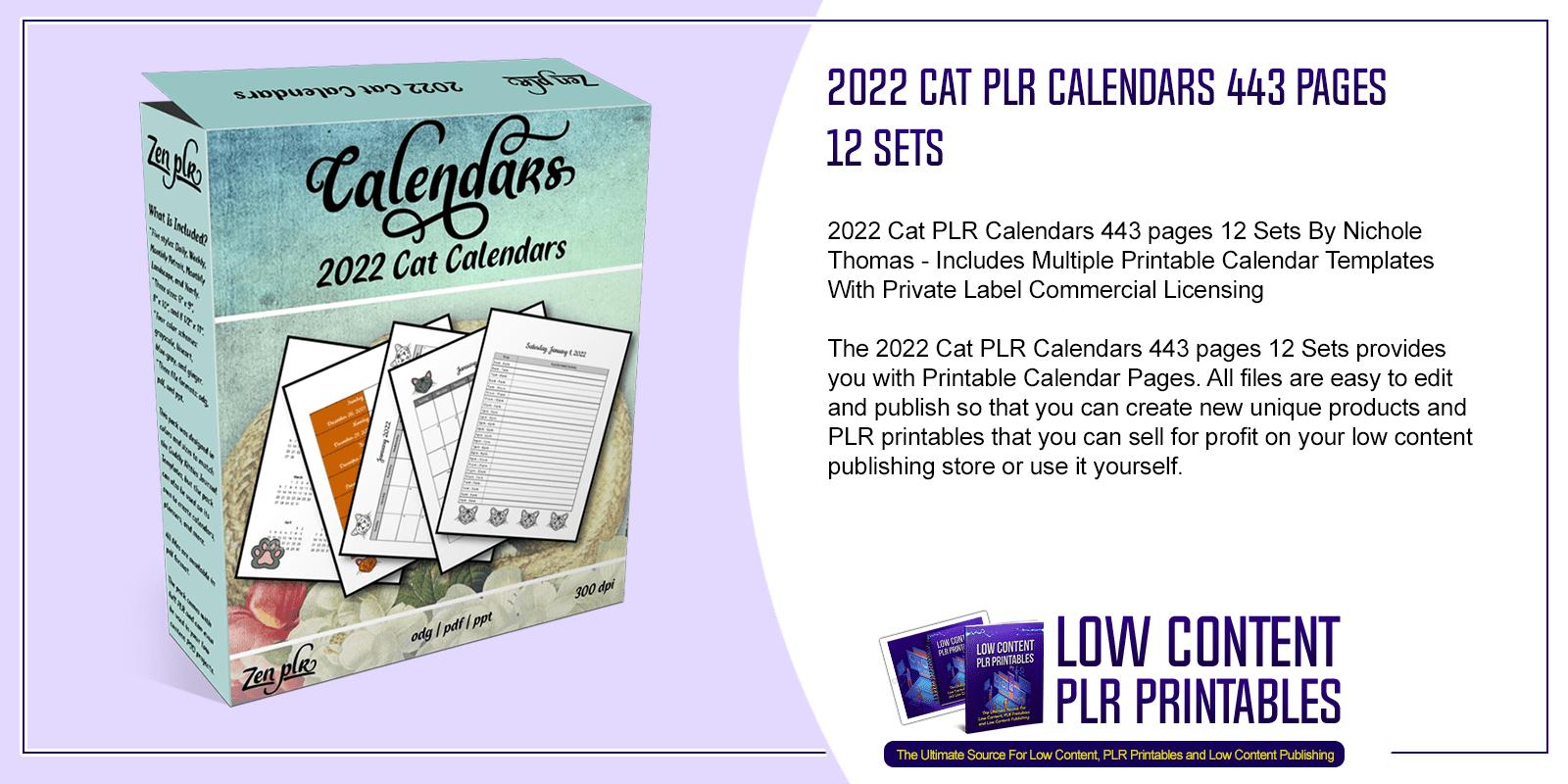 2022 Cat PLR Calendars 443 pages 12 Sets