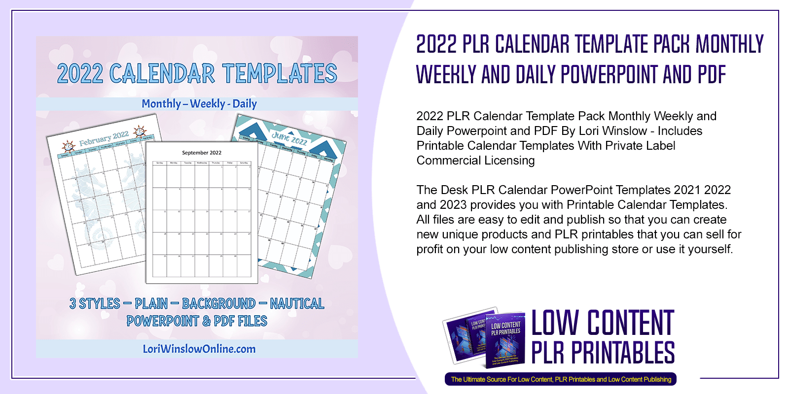 2022 PLR Calendar Template Pack Monthly Weekly and Daily Powerpoint and PDF