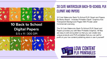 30 Cute Watercolor Back To School PLR Clipart and Papers