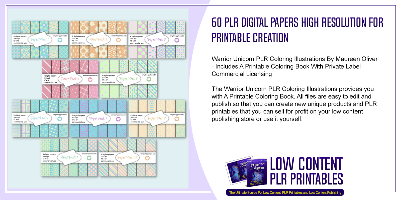60 PLR Digital Papers High Resolution For Printable Creation