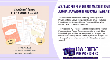 Academic PLR Planner and Matching Reading Journal Powerpoint and Canva Templates