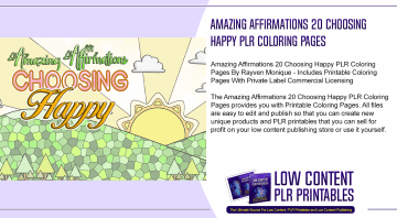 Amazing Affirmations 20 Choosing Happy PLR Coloring Pages