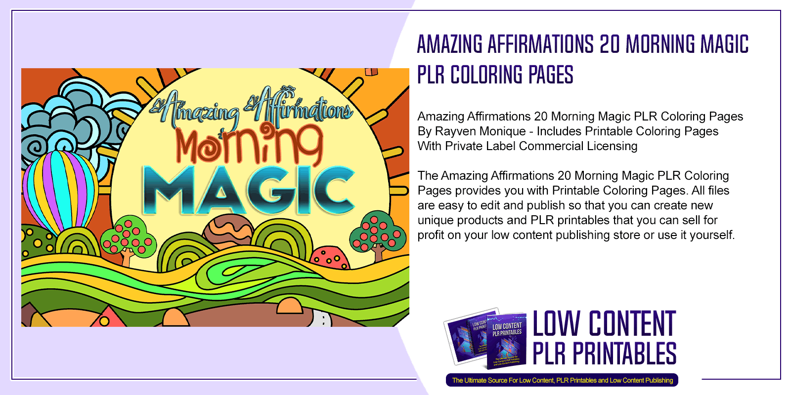 Amazing Affirmations 20 Morning Magic PLR Coloring Pages