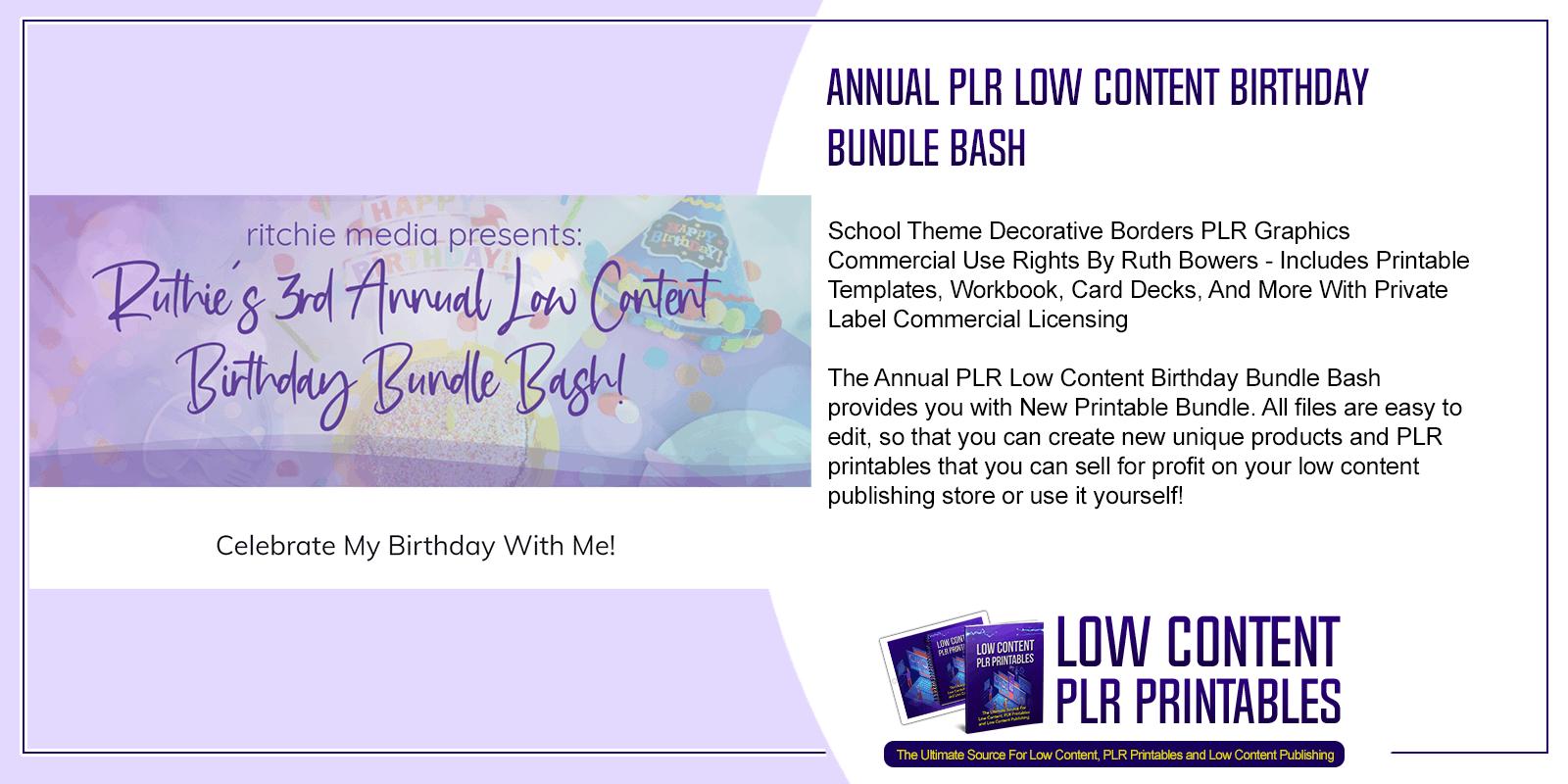 Annual PLR Low Content Birthday Bundle Bash