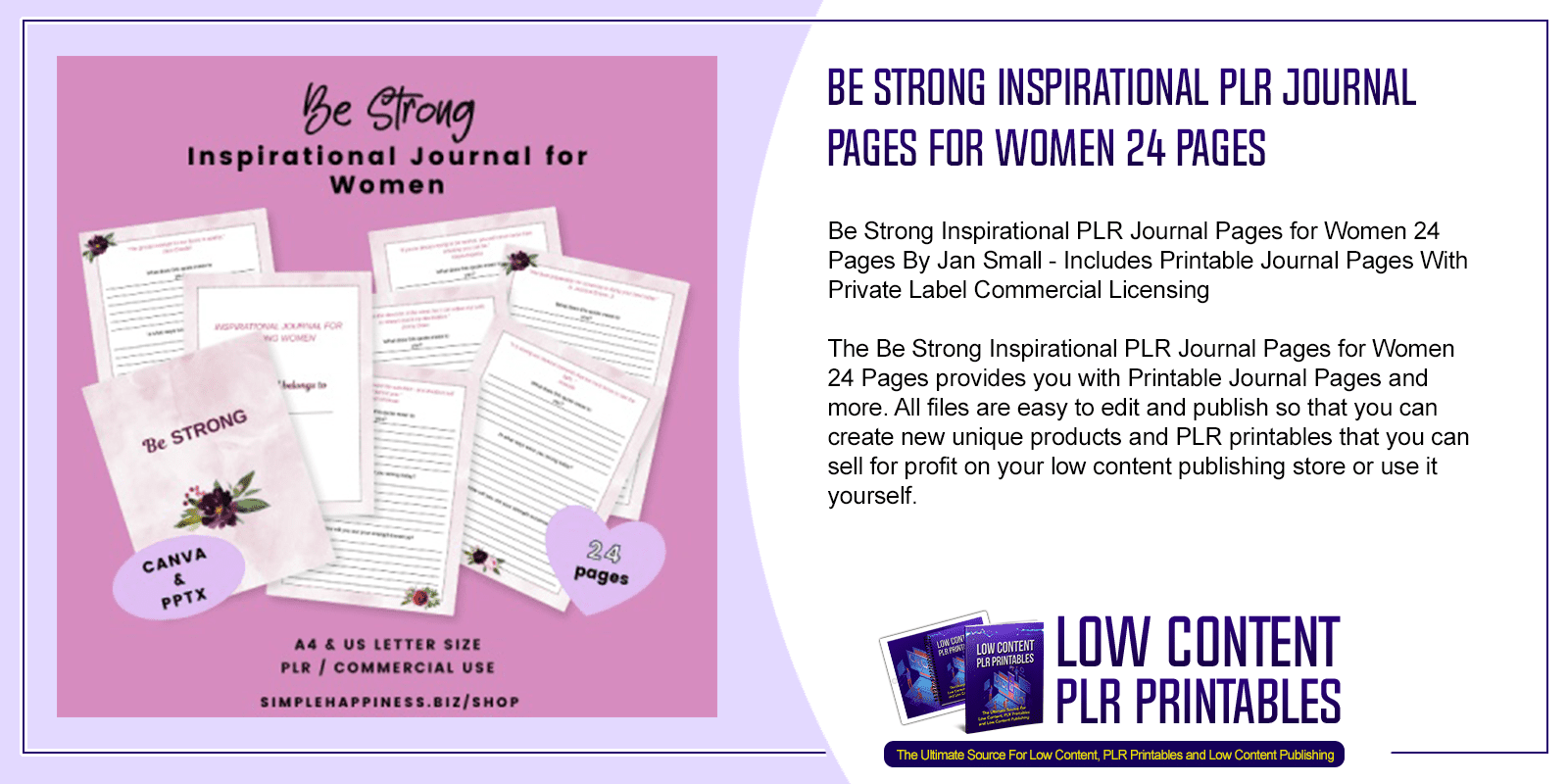Be Strong Inspirational PLR Journal Pages for Women 24 Pages