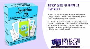 Birthday Cards PLR Printables Templates Kit