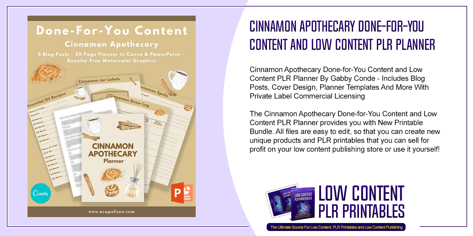 Cinnamon Apothecary Done for You Content and Low Content PLR Planner