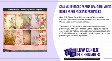 Coming Up Roses Papers Beautiful Vintage Roses Paper Pack PLR Printables