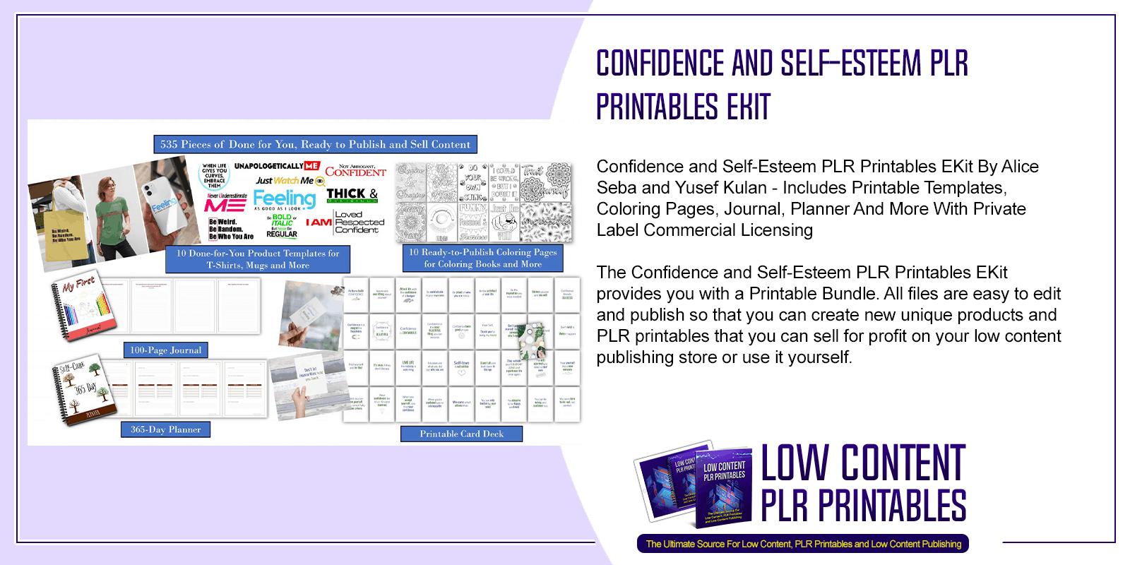 Confidence and Self Esteem PLR Printables EKit