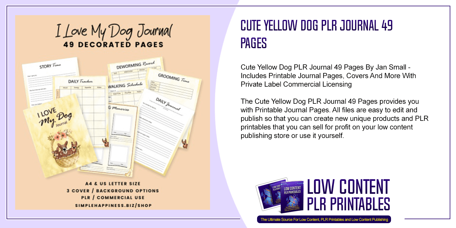 Cute Yellow Dog PLR Journal 49 Pages