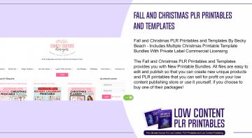 Fall and Christmas PLR Printables and Templates