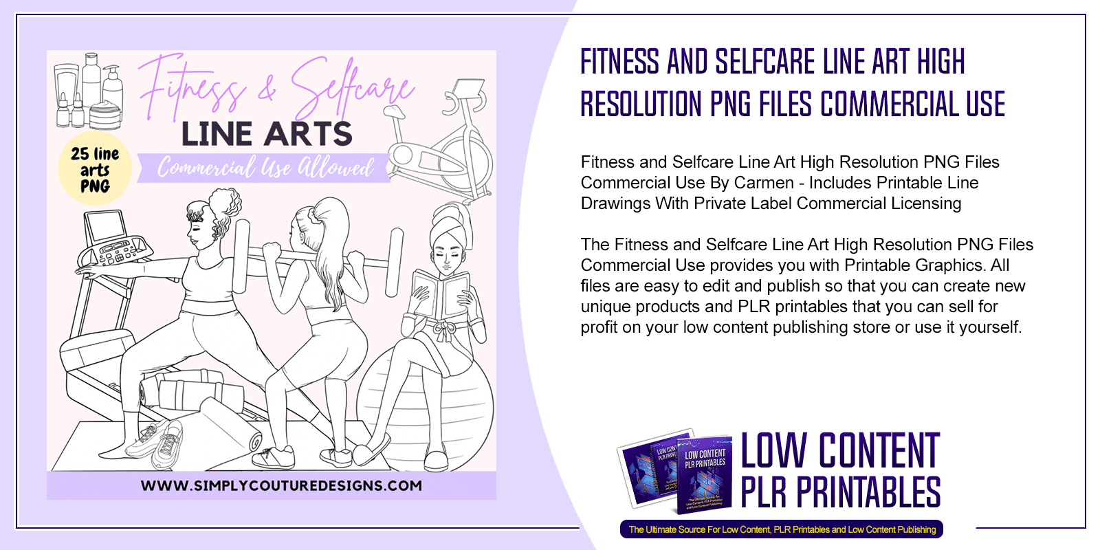Fitness and Selfcare Line Art High Resolution PNG Files Commercial Use