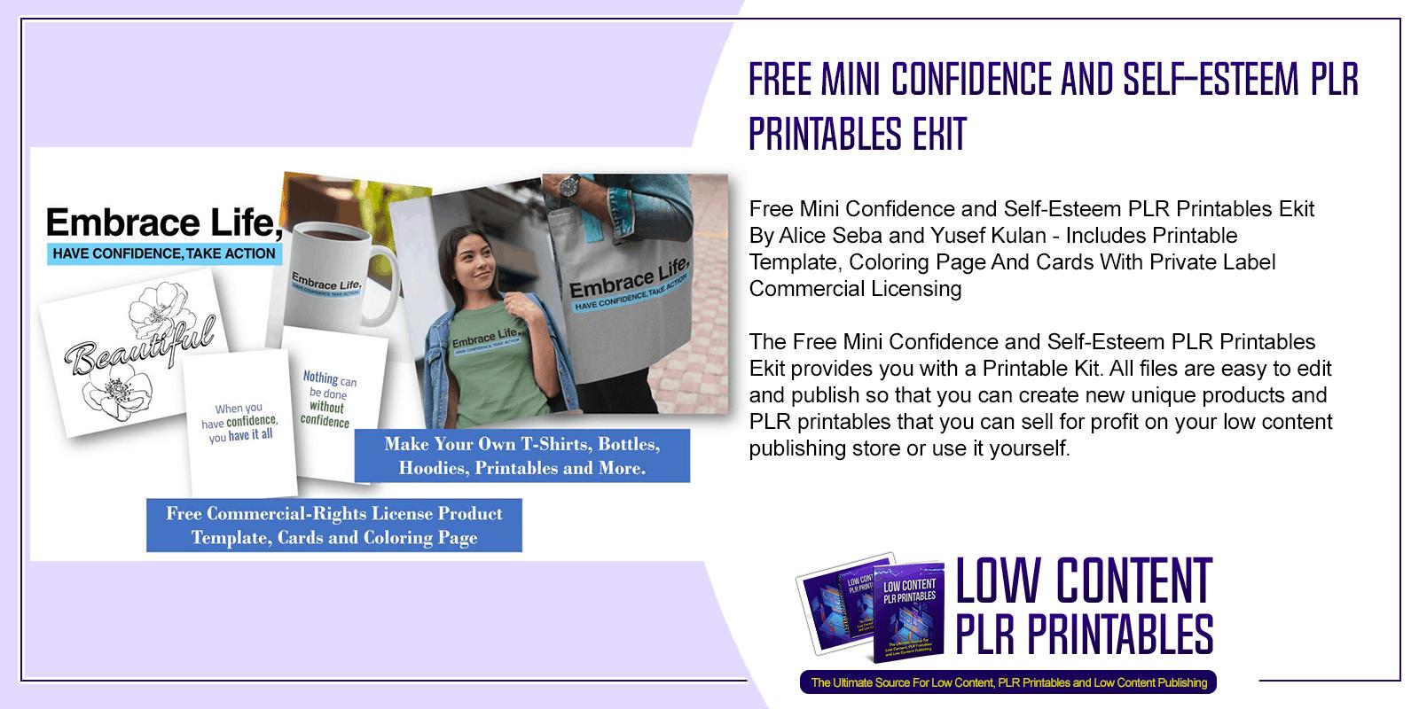 Free Mini Confidence and Self Esteem PLR Printables Ekit