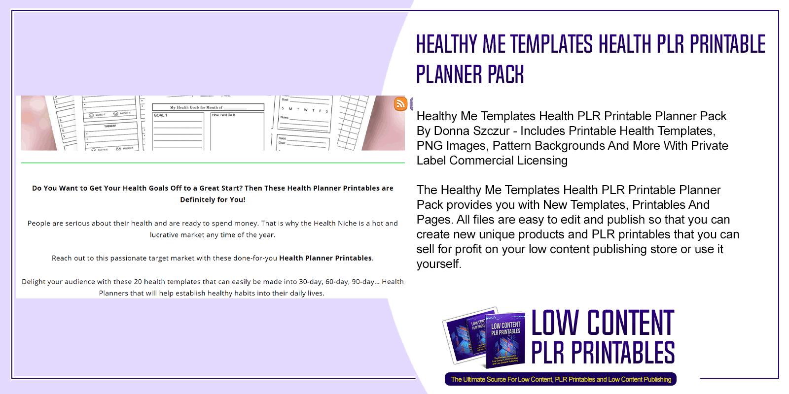 Healthy Me Templates Health PLR Printable Planner Pack