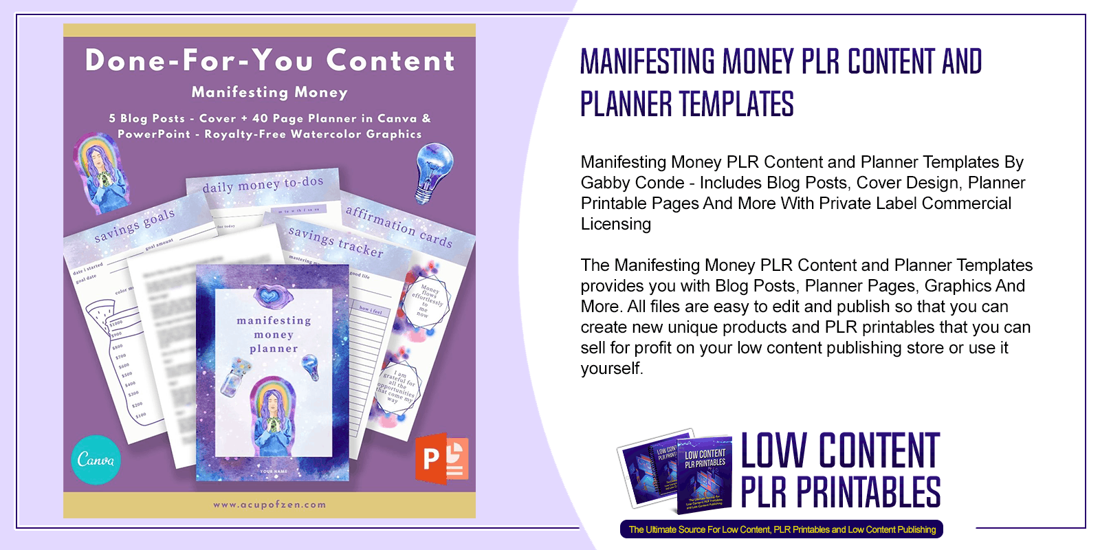 Manifesting Money PLR Content and Planner Templates