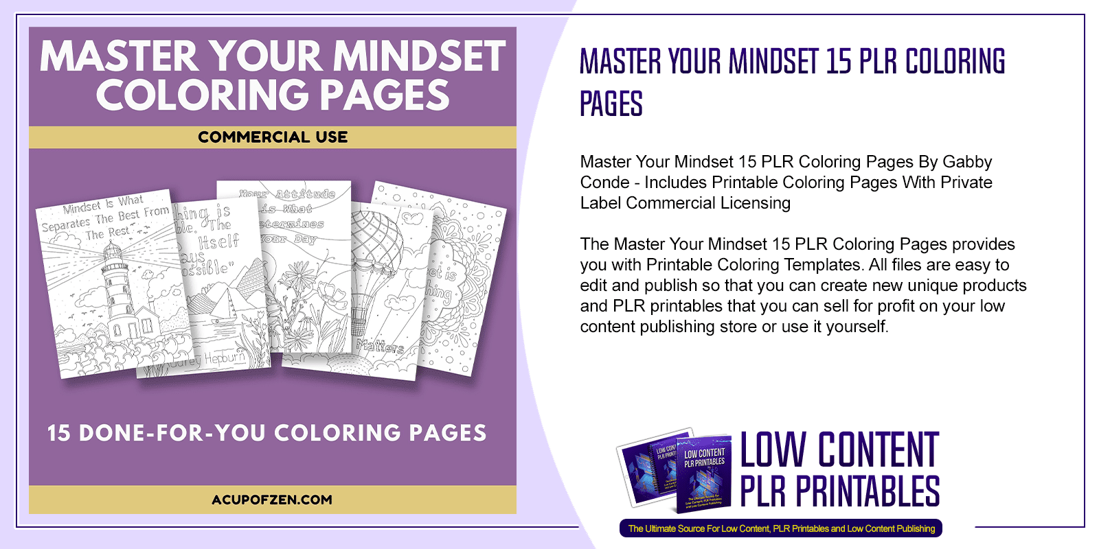 Master Your Mindset 15 PLR Coloring Pages