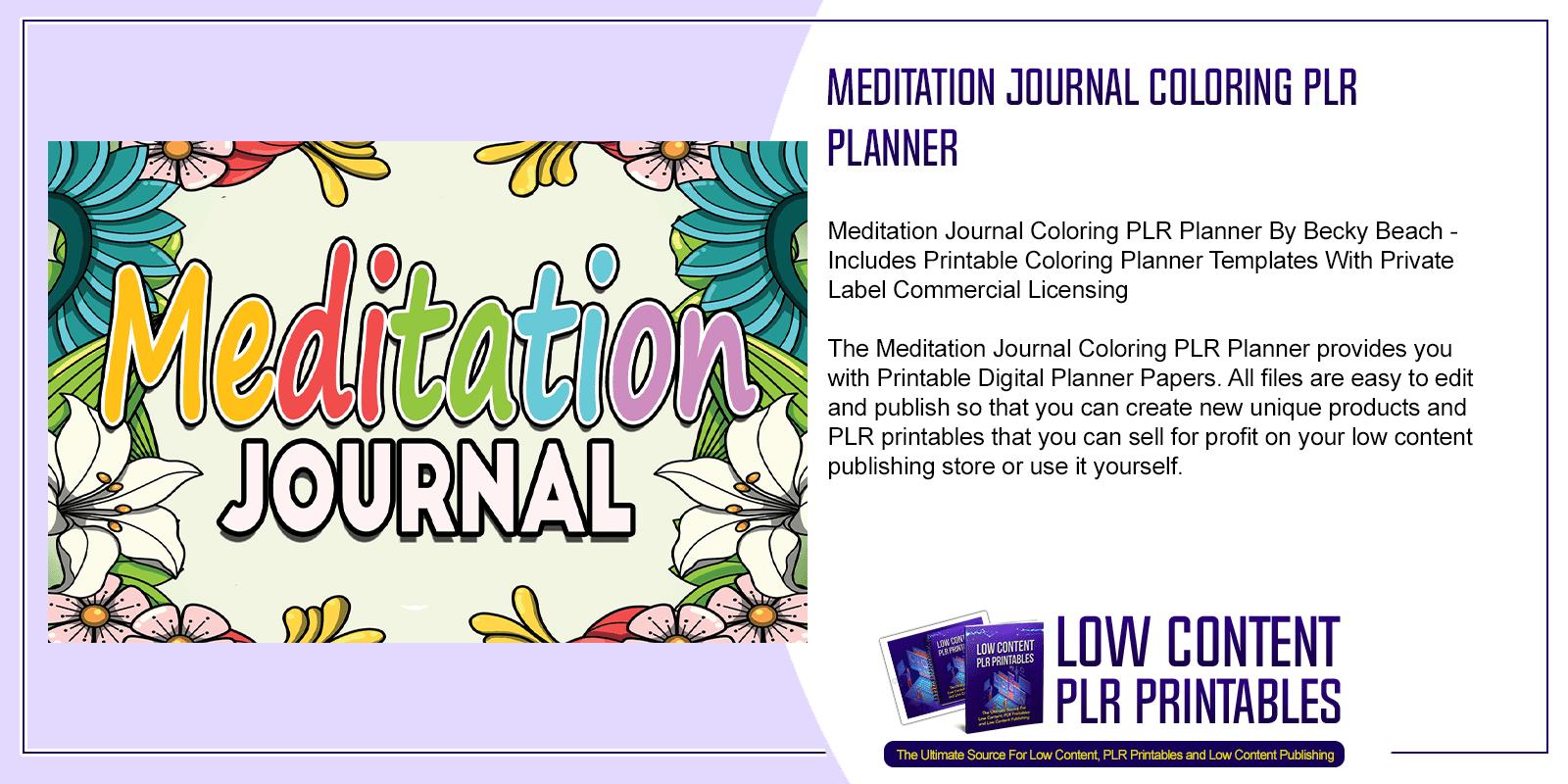 Meditation Journal Coloring PLR Planner