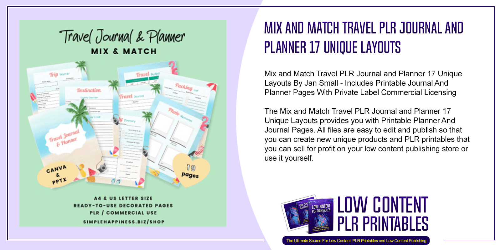 Mix and Match Travel PLR Journal and Planner 17 Unique Layouts