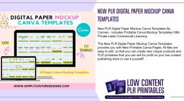 New PLR Digital Paper Mockup Canva Templates