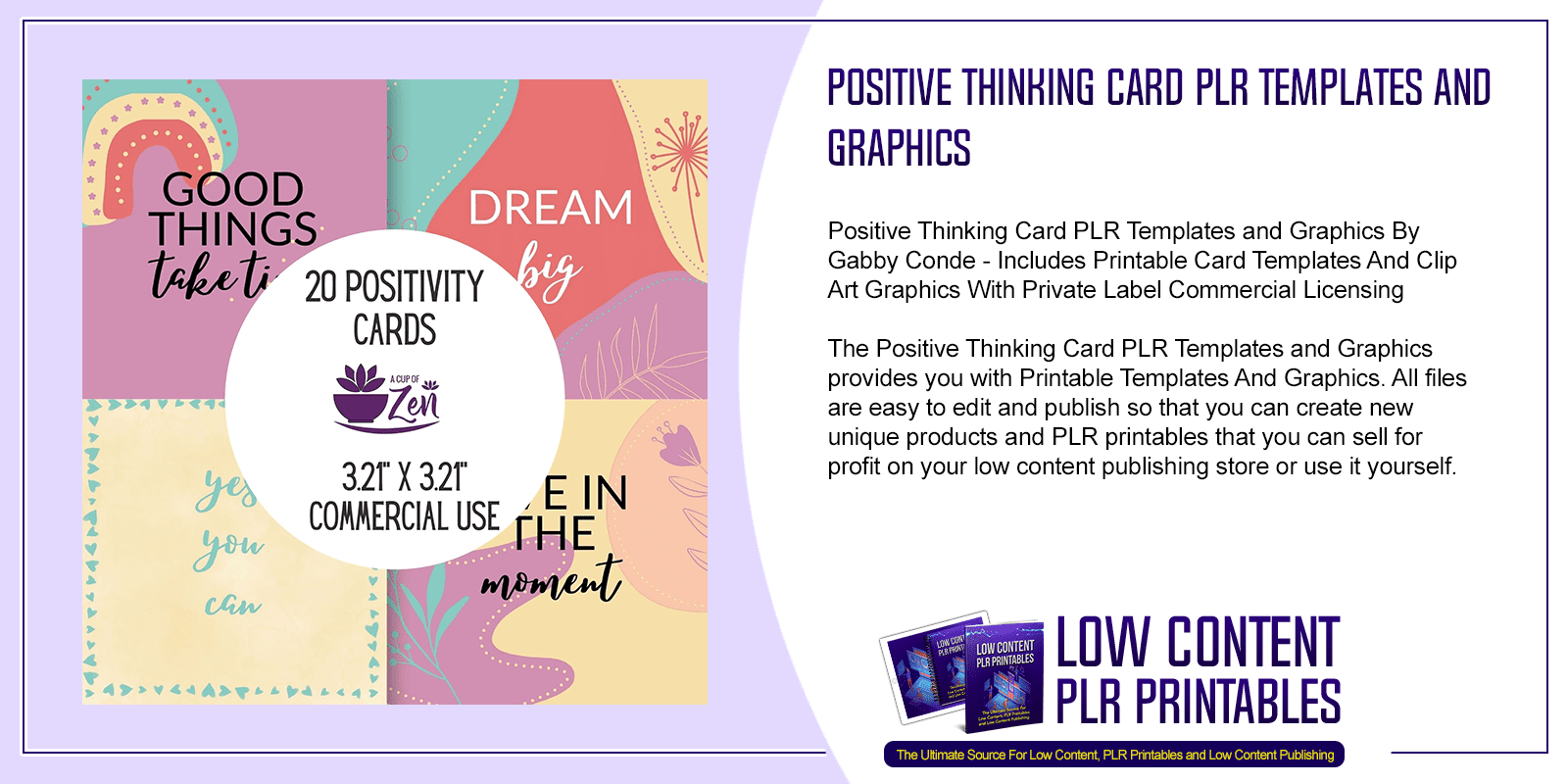 Positive Thinking Card PLR Templates and Graphics
