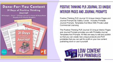 Positive Thinking PLR Journal 33 Unique Interior Pages and Journal Prompts