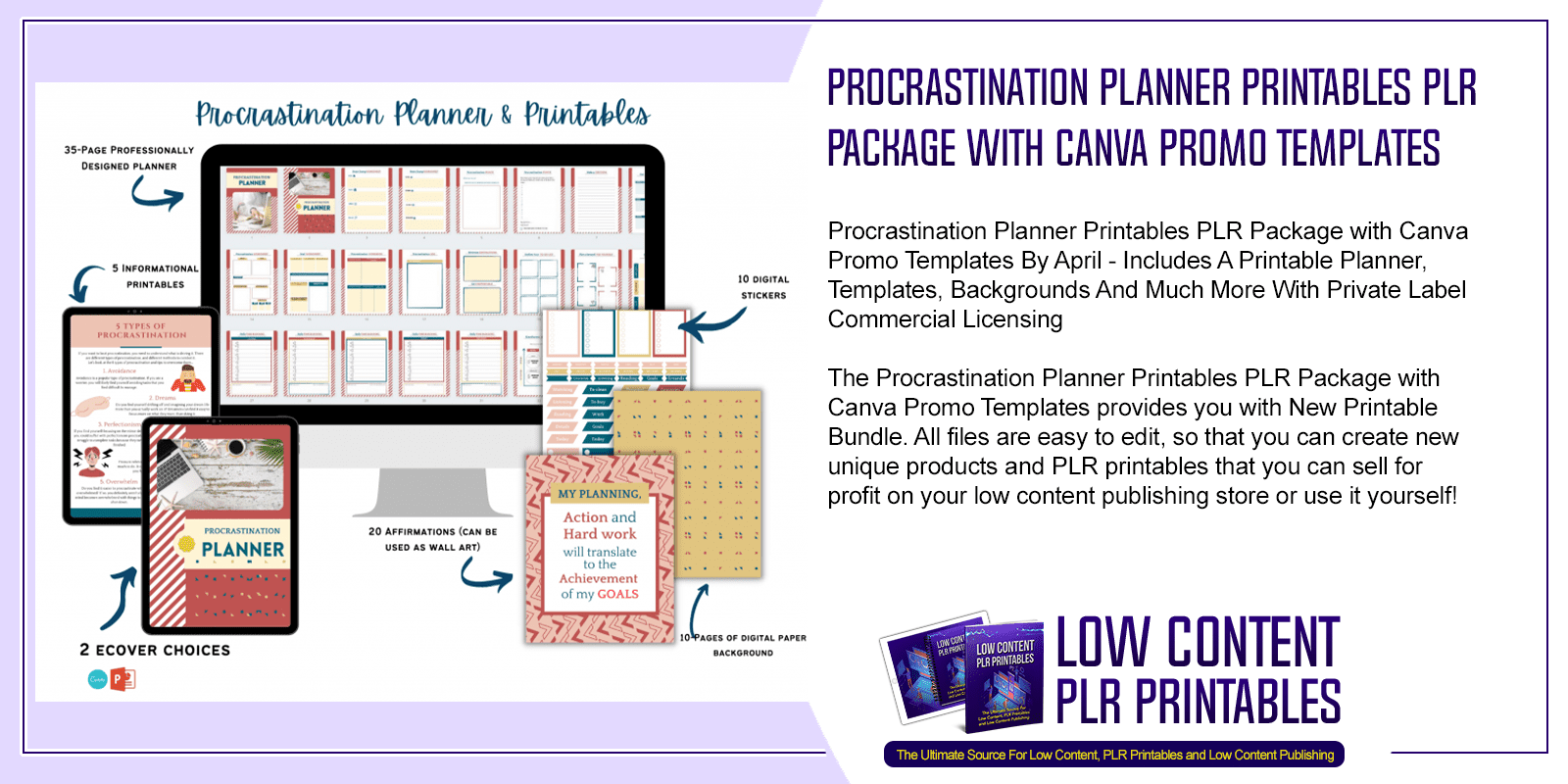Procrastination Planner Printables PLR Package with Canva Promo Templates