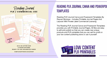 Reading PLR Journal Canva and Powerpoint Templates