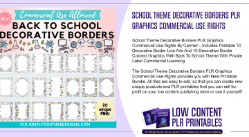 School Theme Decorative Borders PLR Graphics Commercial Use Rights