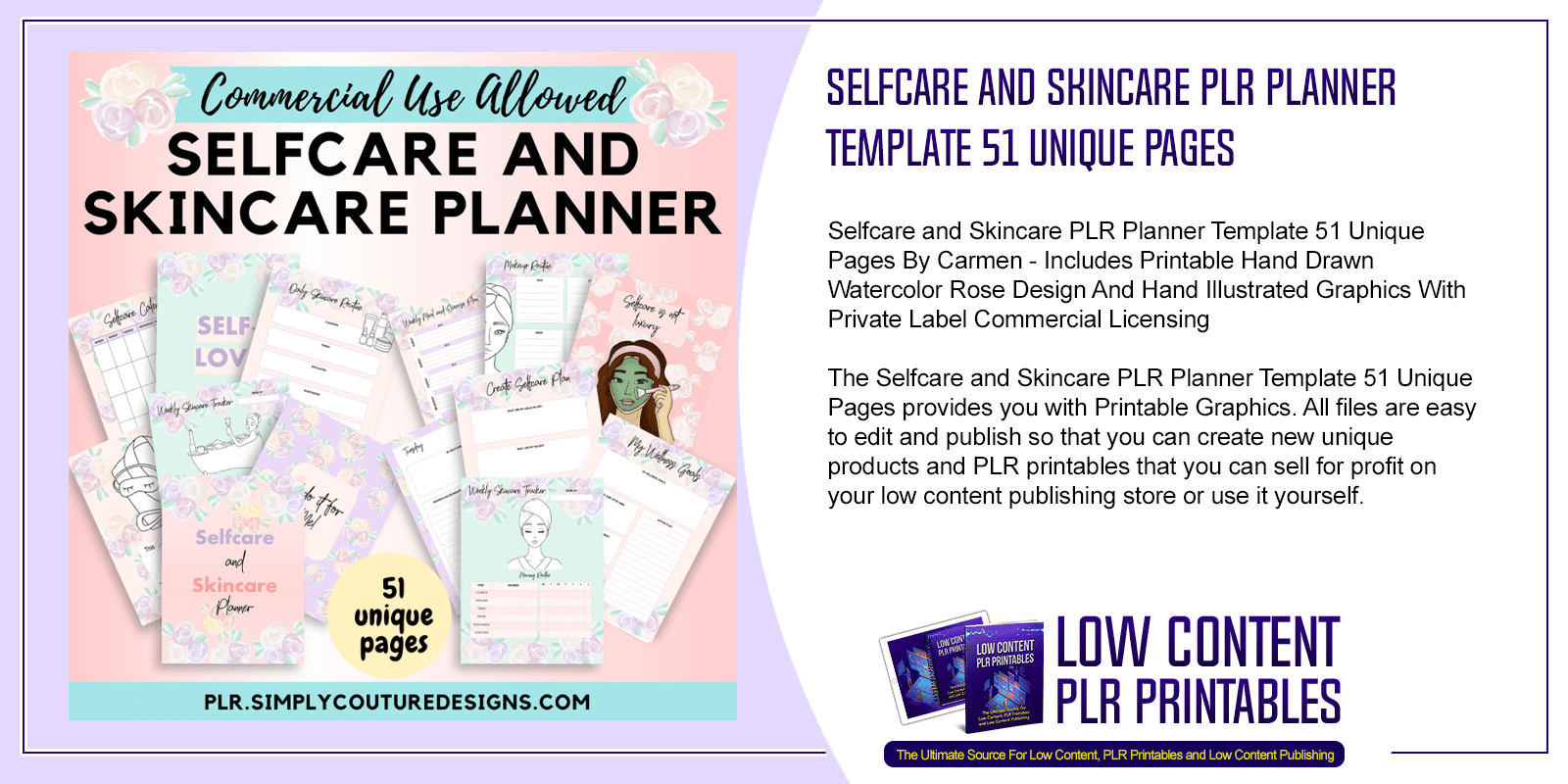 Selfcare and Skincare PLR Planner Template 51 Unique Pages
