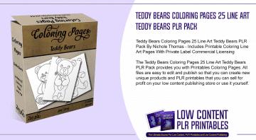 Teddy Bears Coloring Pages 25 Line Art Teddy Bears PLR Pack