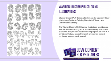 Warrior Unicorn PLR Coloring Illustrations