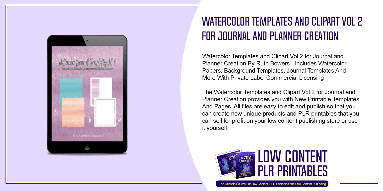 Watercolor Templates and Clipart Vol 2 for Journal and Planner Creation