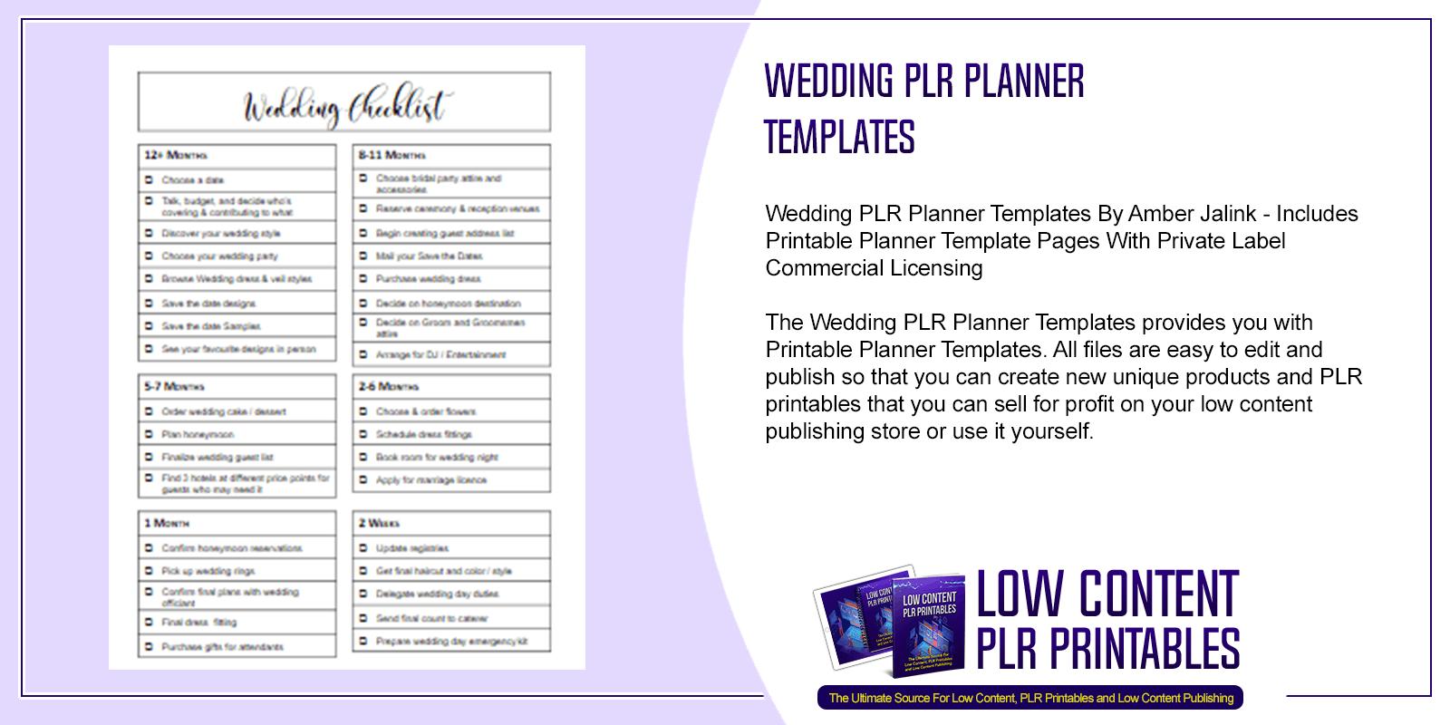 Wedding PLR Planner Templates
