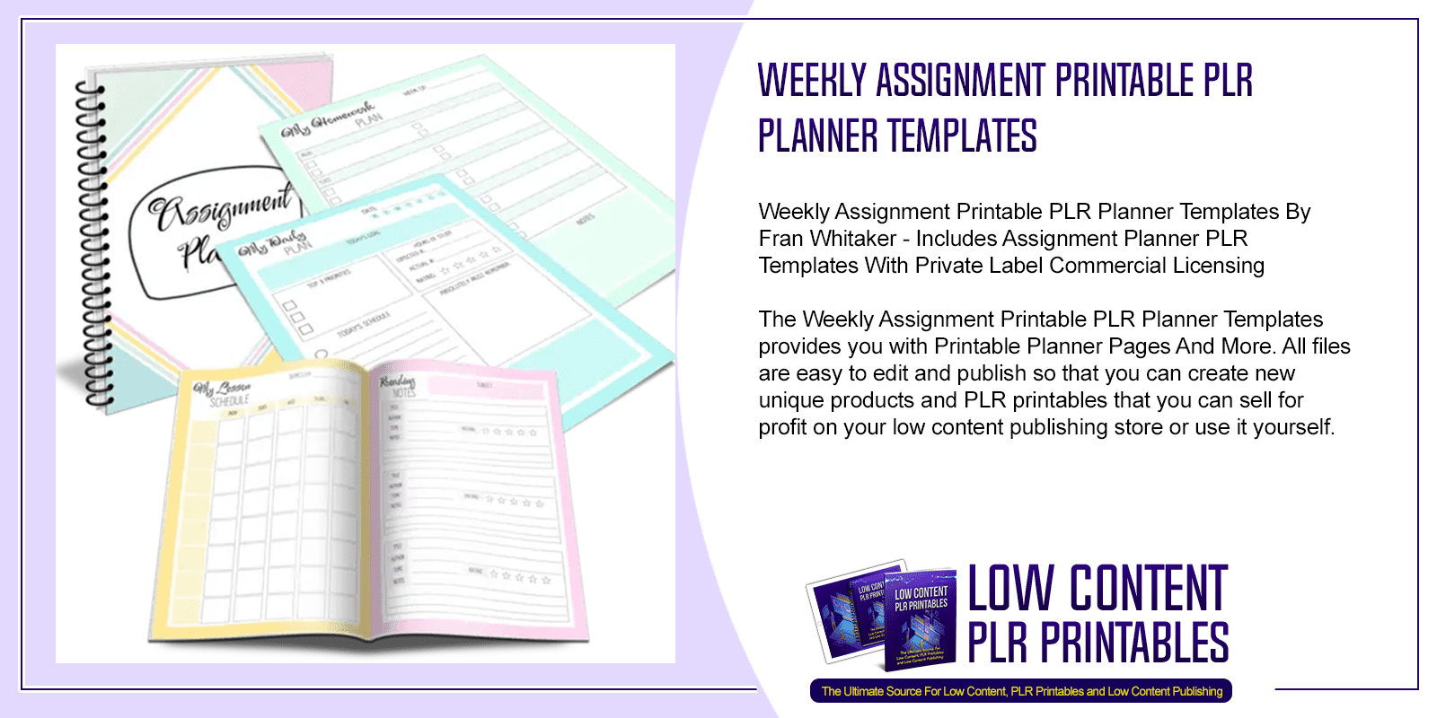 Weekly Assignment Printable PLR Planner Templates