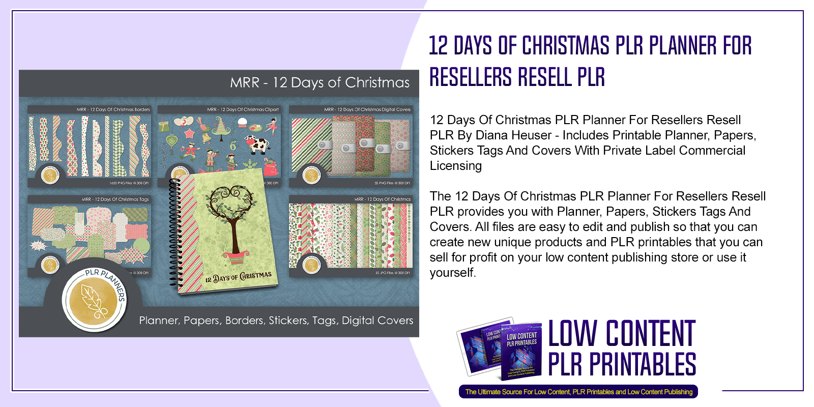 12 Days Of Christmas PLR Planner For Resellers Resell PLR