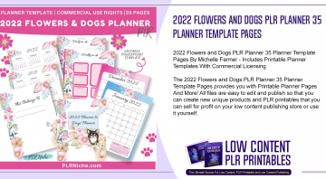 2022 Flowers and Dogs PLR Planner 35 Planner Template Pages