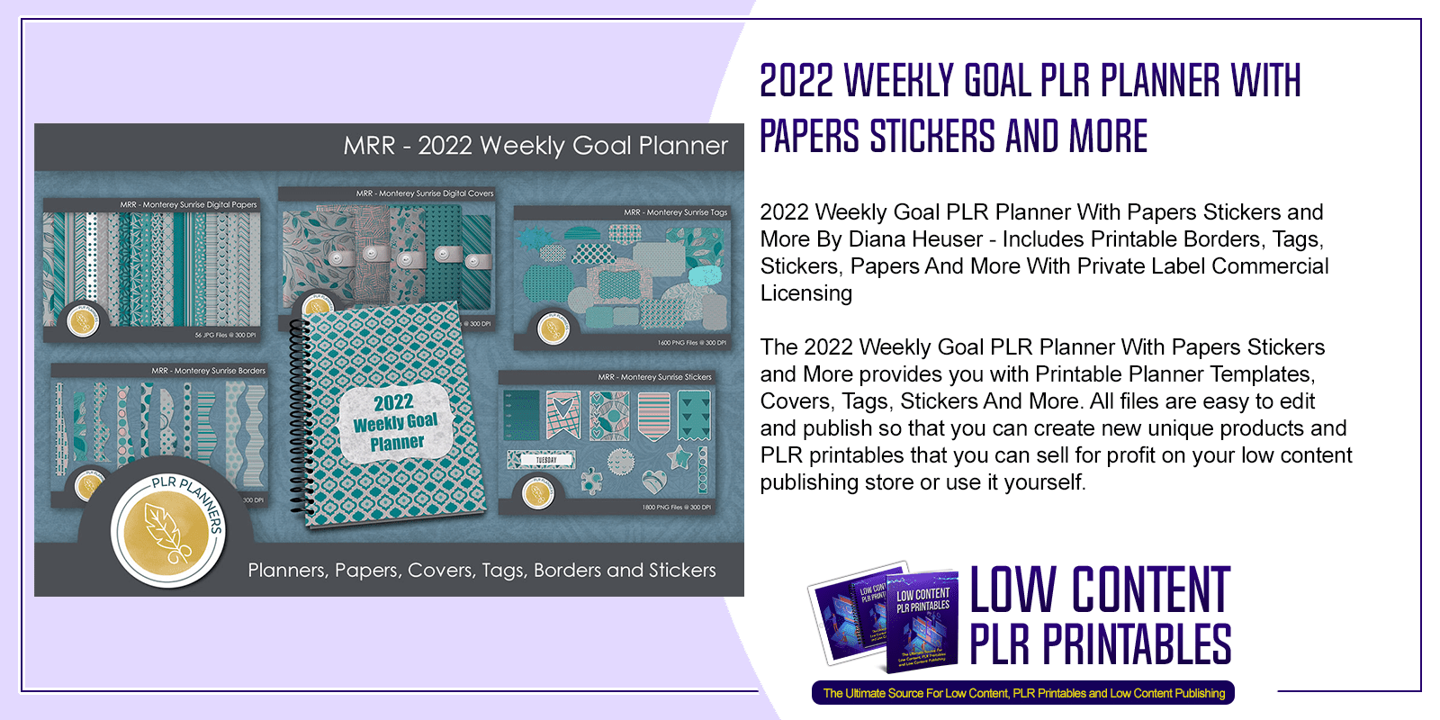 2022 Weekly Goal PLR Planner With Papers Stickers and More
