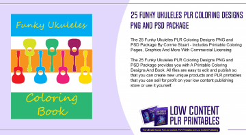 25 Funky Ukuleles PLR Coloring Designs PNG and PSD Package