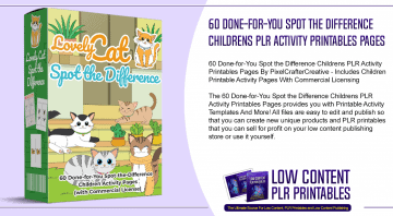 60 Done for You Spot the Difference Childrens PLR Activity Printables Pages