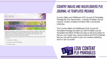 Country Walks and Wildflowers PLR Journal 42 Templates Package