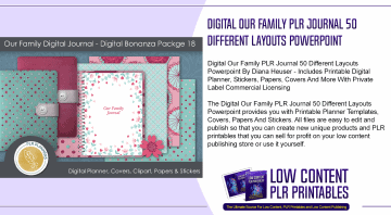 Digital Our Family PLR Journal 50 Different Layouts Powerpoint
