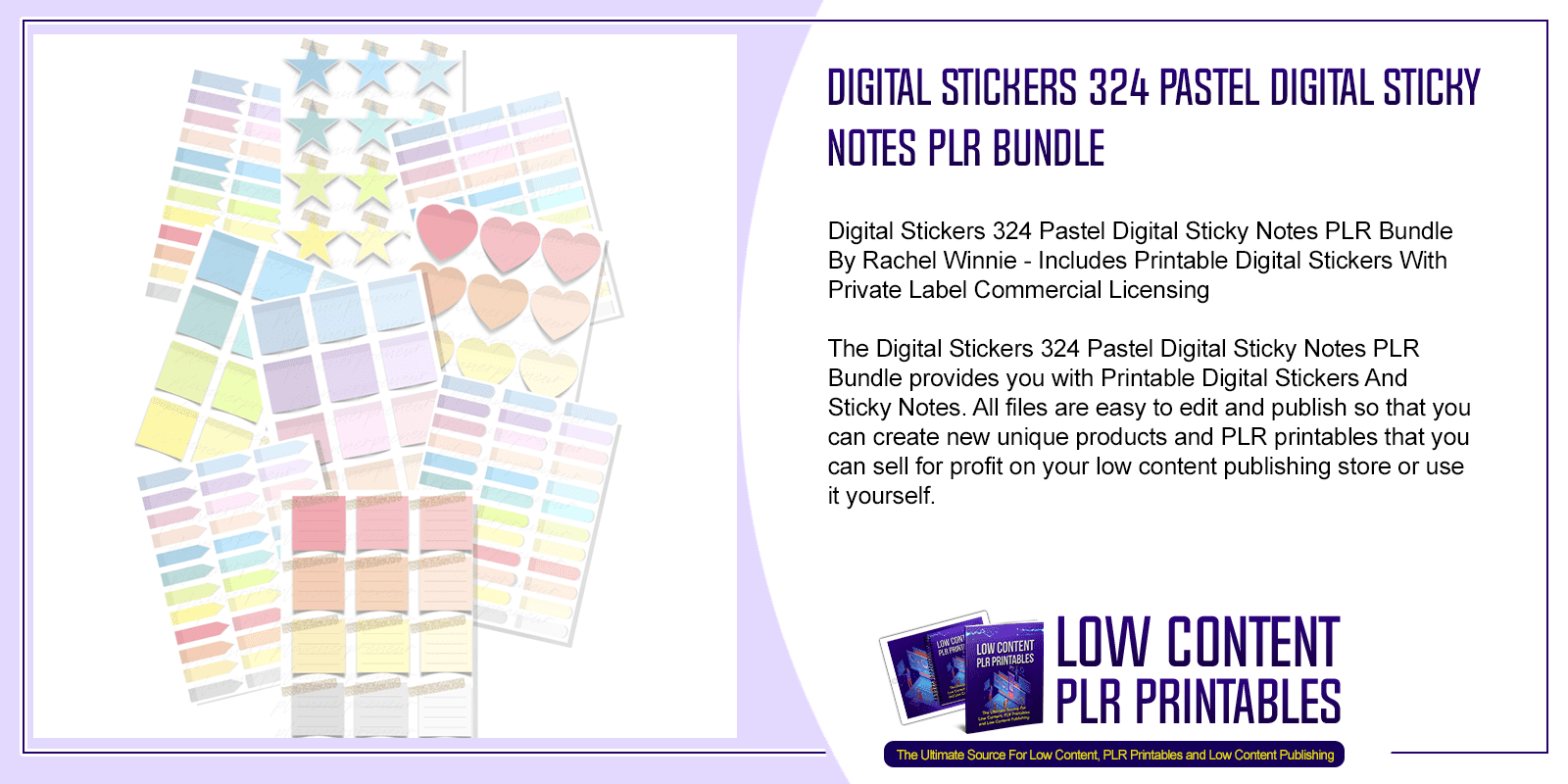 Digital Stickers 324 Pastel Digital Sticky Notes PLR Bundle