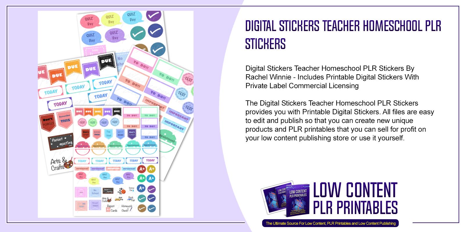Digital Stickers Teacher Homeschool PLR Stickers