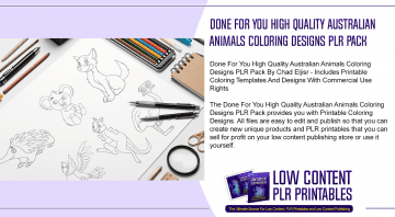 Done For You High Quality Australian Animals Coloring Designs PLR Pack