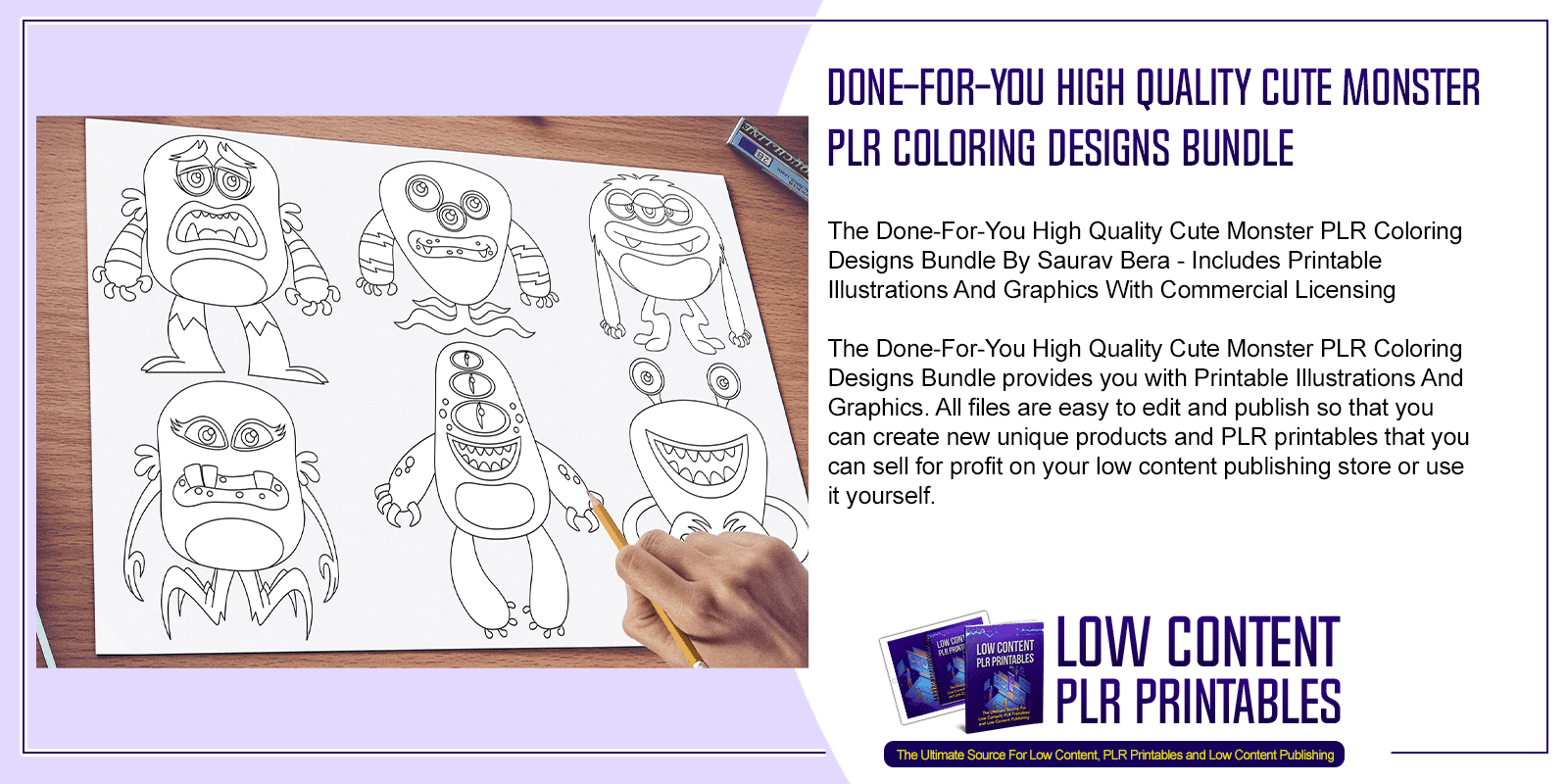 Done For You High Quality Cute Monster PLR Coloring Designs Bundle