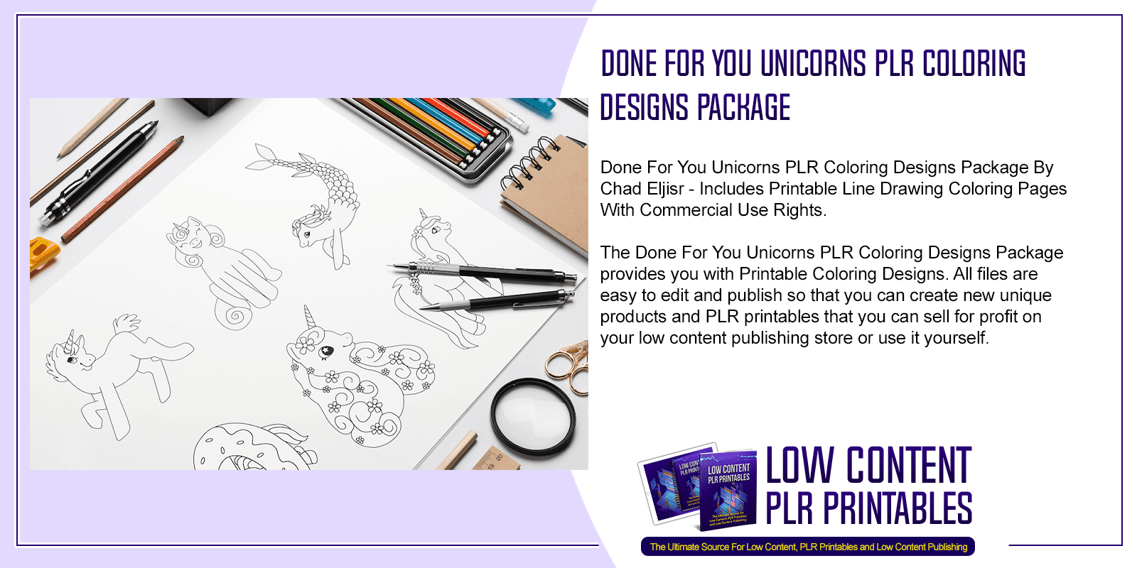 Done For You Unicorns PLR Coloring Designs Package