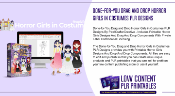 Done for You Drag and Drop Horror Girls in Costumes PLR Designs